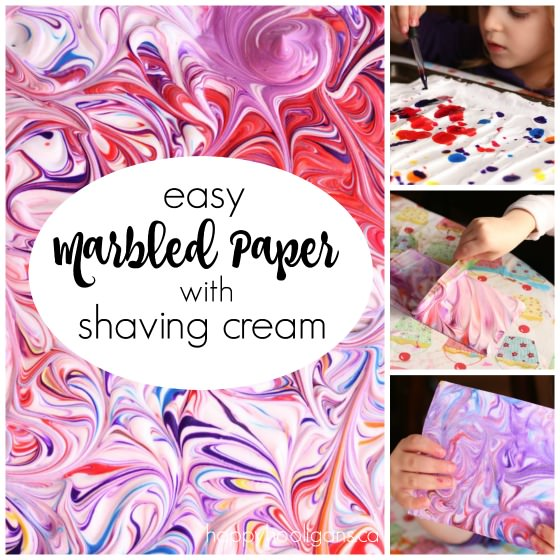 easy marbled paper with shaving cream and food color