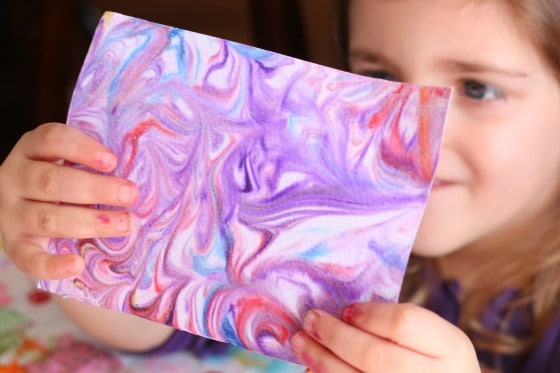 kid-made marbled paper