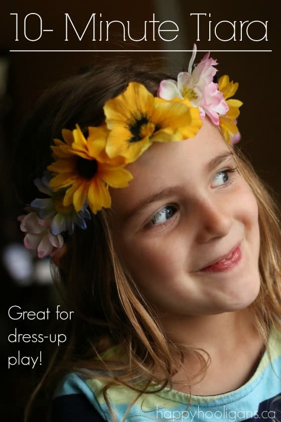 Easy, flowered tiara craft that kids can make in minutes. Great for dress-up play! You can make it in minutes with a piece of elastic and some artificial flowers. Happy Hooligans