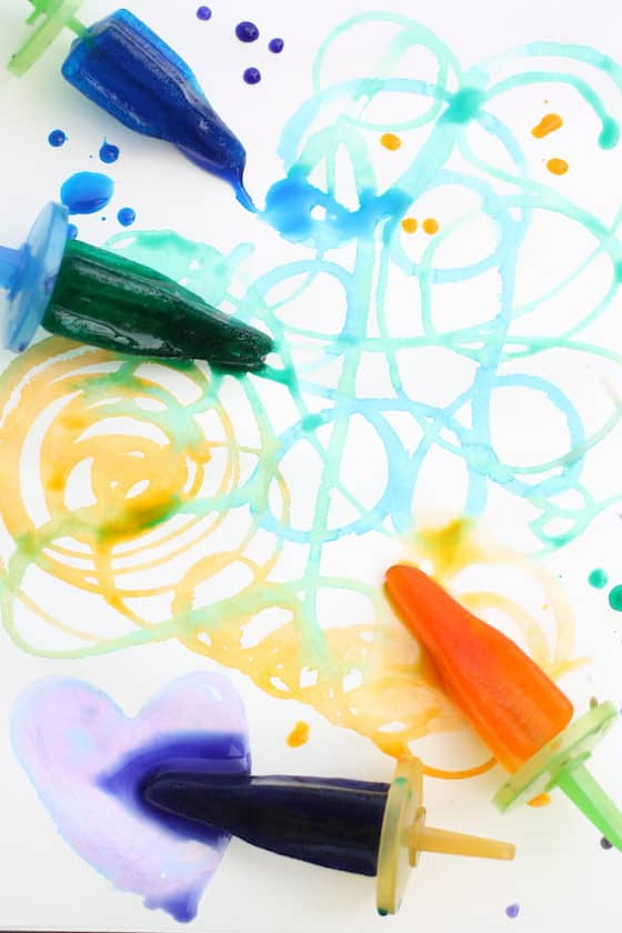 doodles and scribbles painted with colourful frozen paint pops