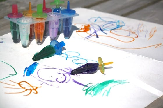 preschoolers group art made with coloured ice