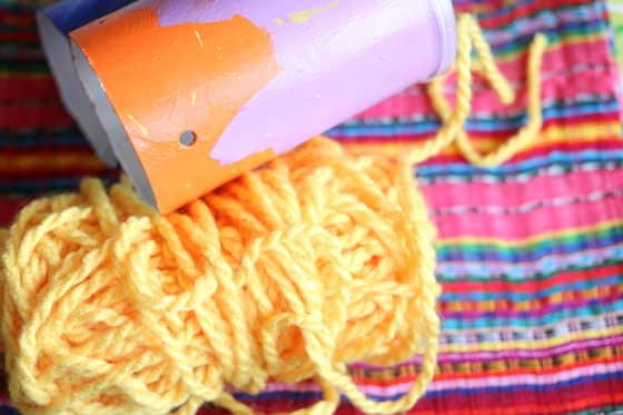pringles cans and yarn