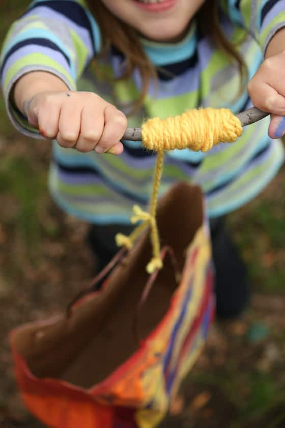 kite winder made from yarn and a stick