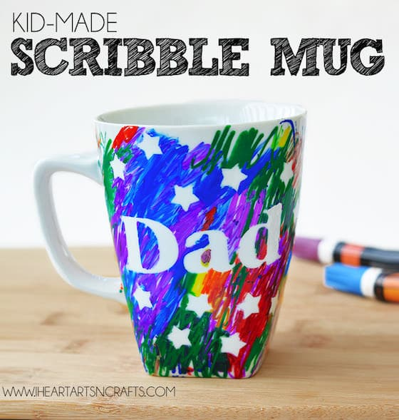 sharpie and tape resist mug for Dad