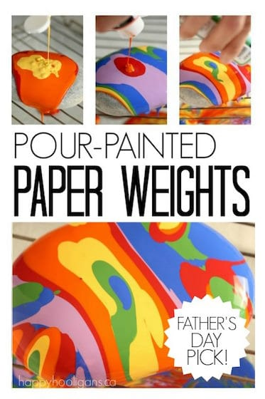 Pour-Painted Paper Weights with Beach Stones