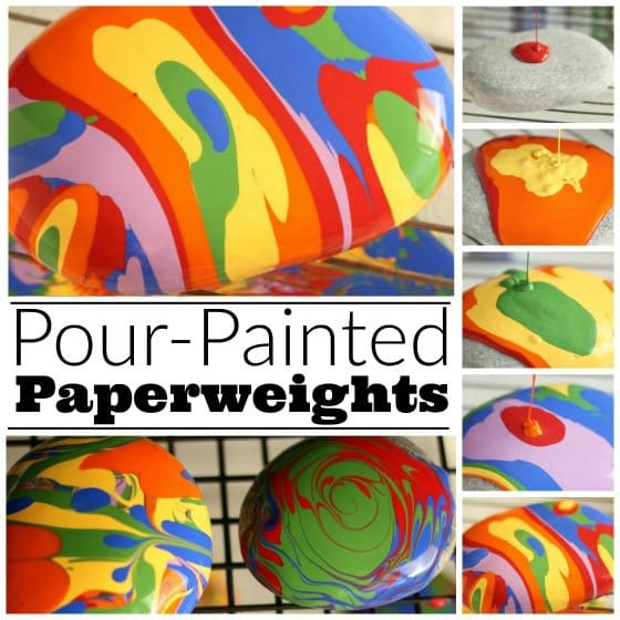 Pour-Painted Paper Weights from beach stones- a fun art process and a great gift for kids to make and give - Happy Hooligans