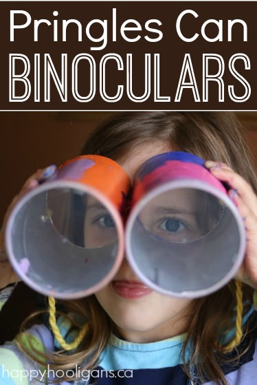 Pringles Can Binoculars. An inexpensive, fun and easy craft for preschoolers. Great for pretend play, scavenger hunts, I spy etc. - Happy Hooligans