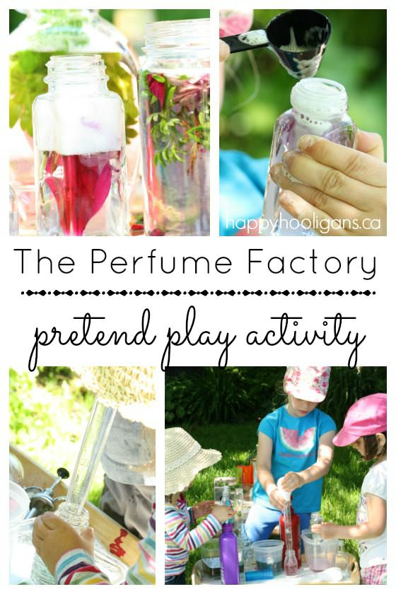 Pretend Play Perfume Factory - hours of imaginative fun in the garden - Happy Hooligans