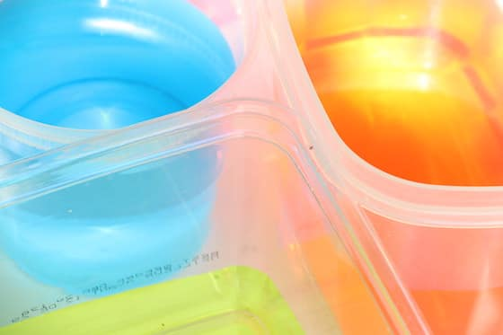 containers of coloured water
