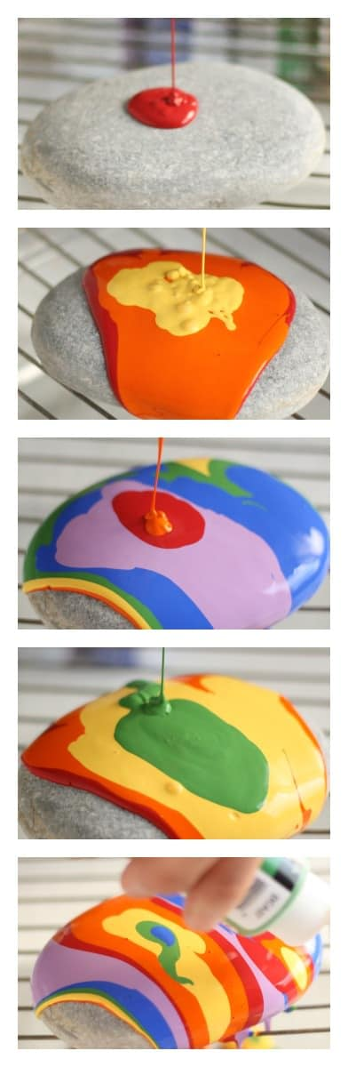 step by step images of pour painted paper weight rocks