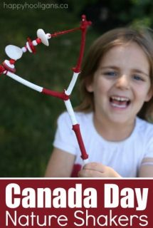 Canada Day Nature Shakers made with twigs, shells, buttons, and beads. A fun homemade, natural instrument to rattle and shake at a holiday parade or party - Happy Hooligans