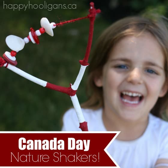 Canada Day craft idea for preschoolers - Nature rattles made from twigs, beads, buttons and shells