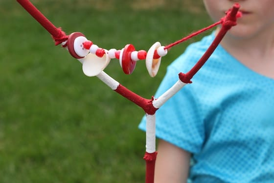 Shaking a Canada Day nature rattle
