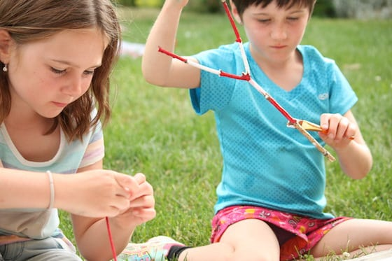Young Girls making Canada Day Crafts