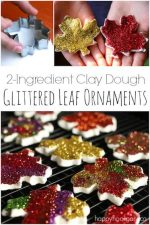 Glittered Leaf Ornaments with 2-Ingredient Clay Dough