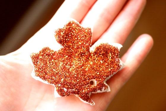 copper coloured glittered clay dough leaf