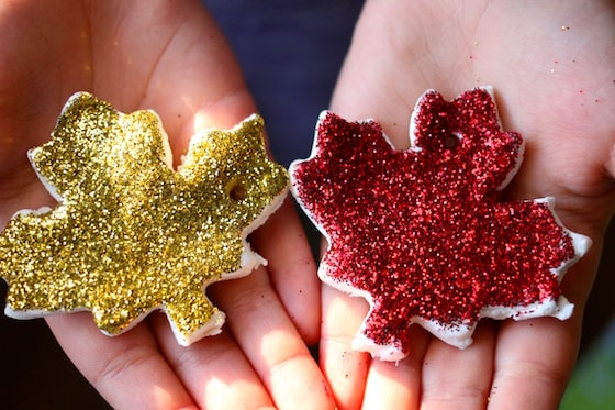 gold glittered leaf and red glittered leaf