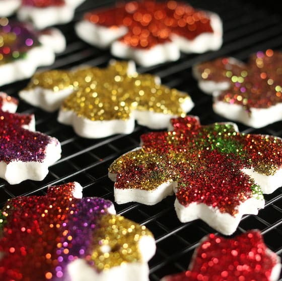 Gorgeous glittered leaf ornaments made by kids