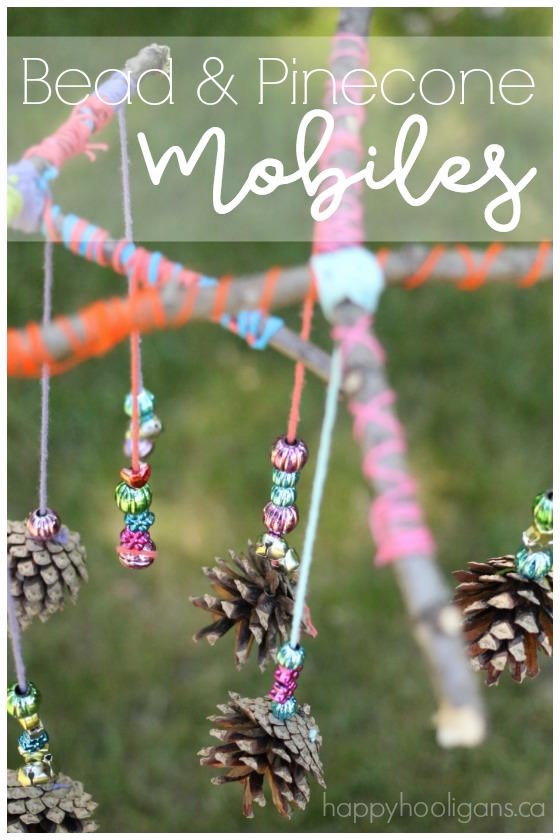 natural twig and pinecone mobiles for kids to make