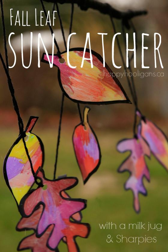 Fall Leaf Sun Catcher for Kids to Make by Happy Hooligans