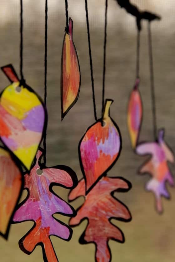 coloured plastic leaves for sun catcher