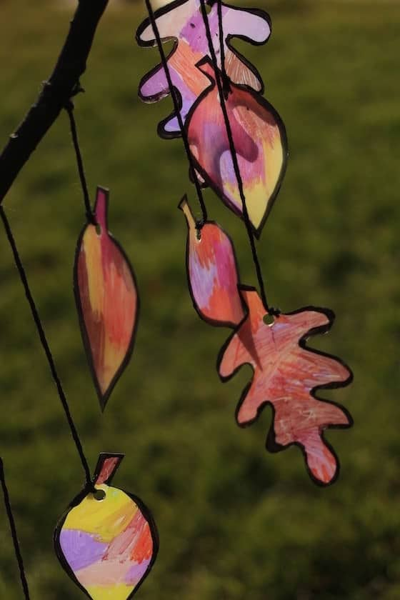 leaf sun catcher with grassy backdrop