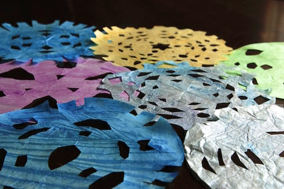 coloured snowflakes made by kids