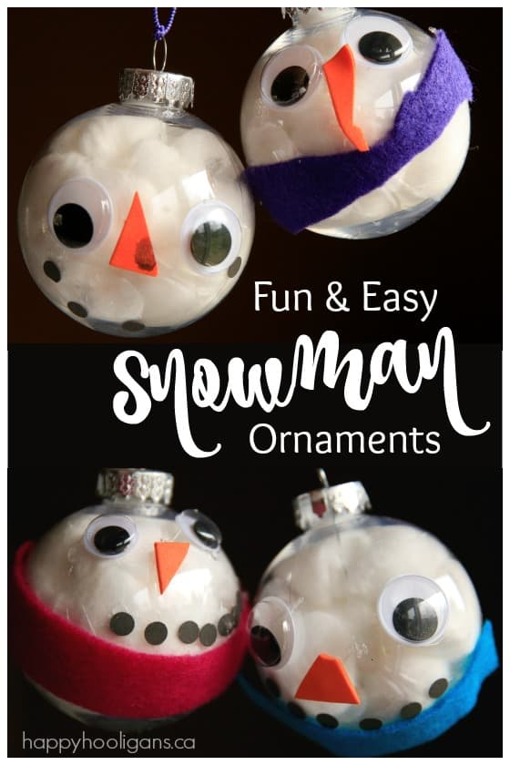 Snowman Face Ornaments made with Clear Plastic Christmas Balls