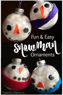 Adorable Snowman Ornaments made with Clear Plastic Baubles