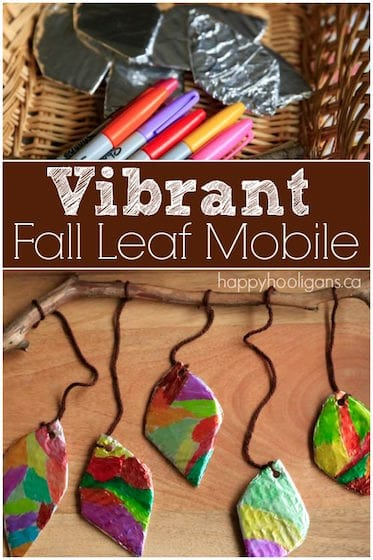 Vibrant Fall Leaf Mobile with Tin Foil and Sharpies