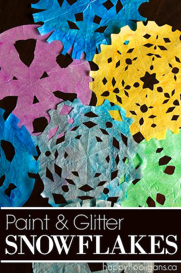 Beautiful Painted Coffee Filter Snowflakes For Kids To Make