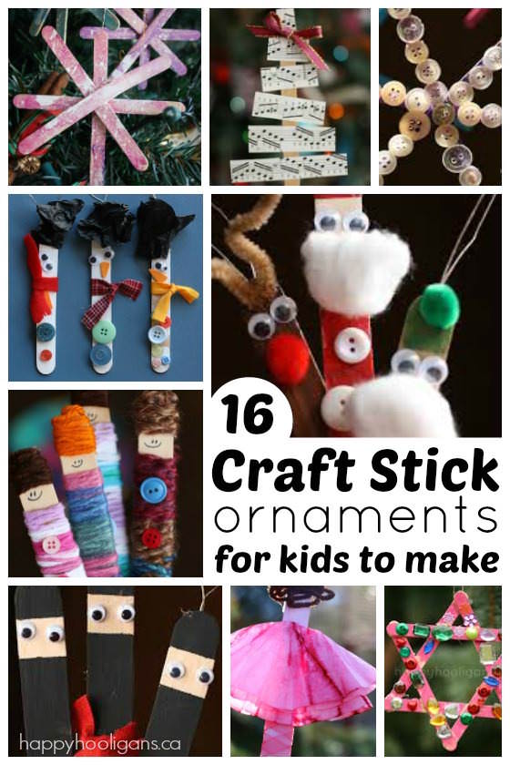 16 Ridiculously Cute Craft Stick Ornaments for Kids to Make - from ballerinas to ninjas to Santa and his helpers, these adorable craft stick ornaments will make you smile every time you look at them.