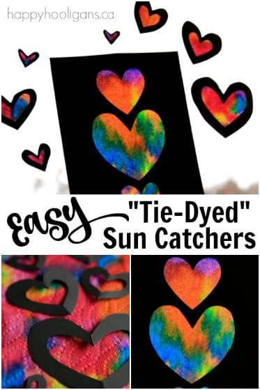 Easy Tie-Dyed Heart Sun Catchers for Kids to Make