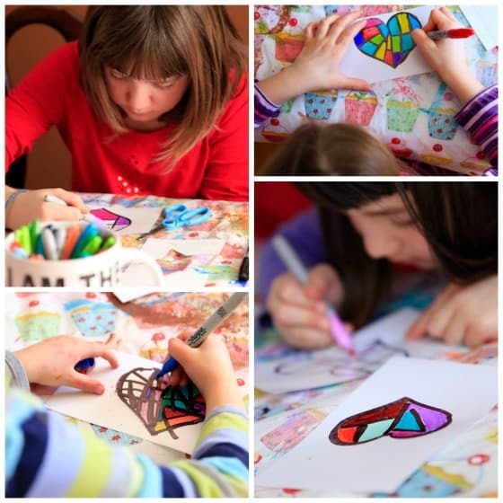 Colouring hearts on photo paper with Sharpies