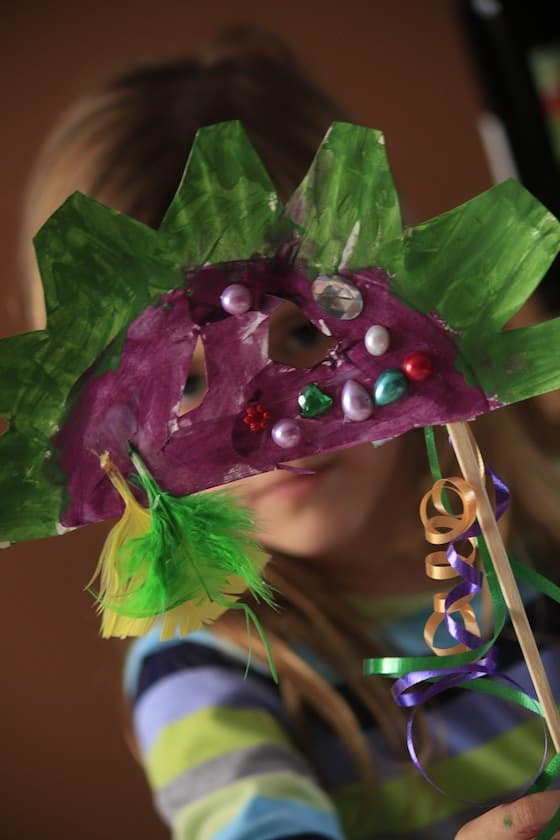 Green and Purple Masquerade Mask for Fat Tuesday