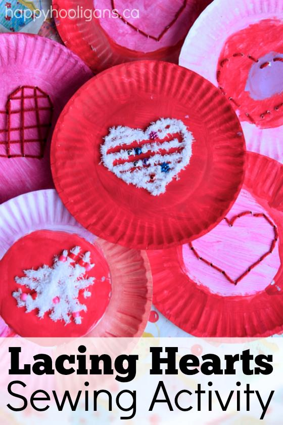 sewing valentine craft ideas paper plate lacing activity for happy hooligans 5397