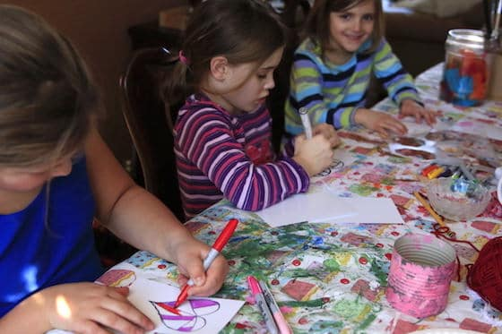 Kids colouring homemade valentines cards