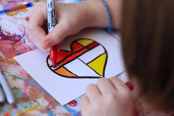 Colouring heart with blocks of colour