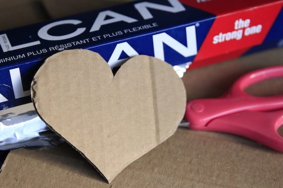 cardboard heart tin foil and scissors
