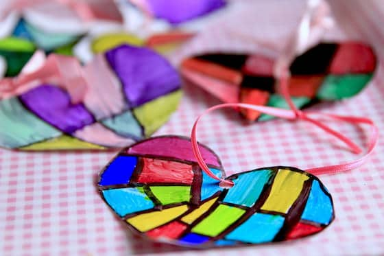 Vibrant hearts coloured with Sharpies