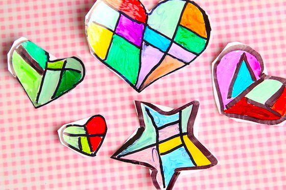 hearts and stars made with sharpies and photo paper