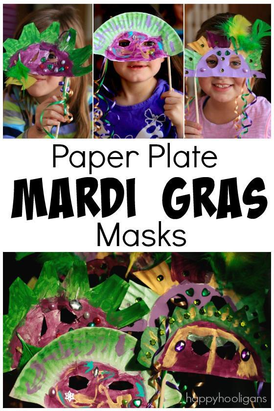 Paper Plate Mardi Gras Masks for Kids to Make