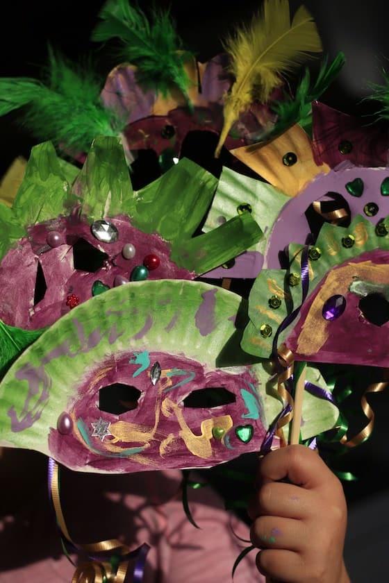 Paper Plate Mardi Gras masks