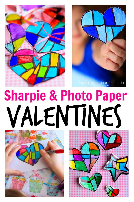 Valentines Hearts with Sharpies and Photo Paper