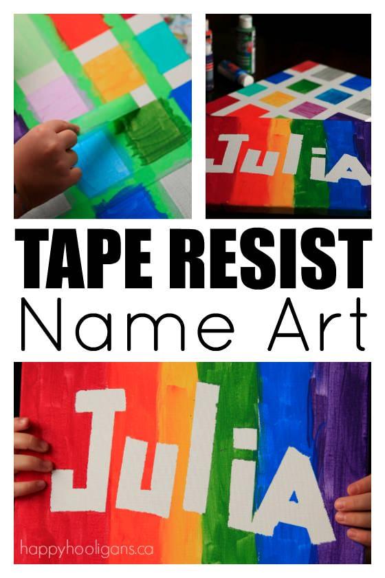 Tape Resist Name Art - Happy Hooligans