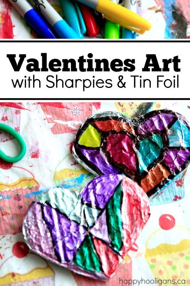 Valentines Art with Sharpies and Tin Foil - Happy Hooligans