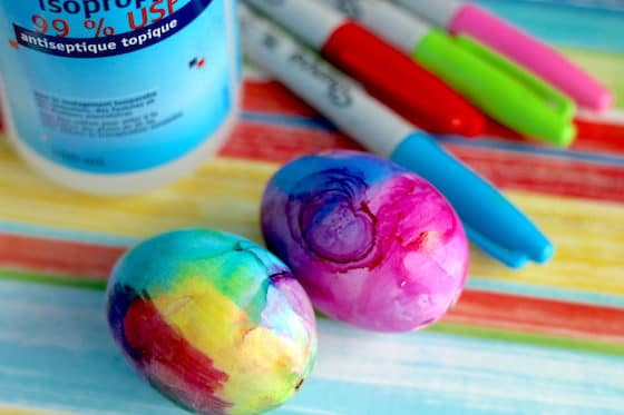 Rubbing alcohol eggs and sharpies