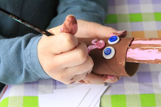 painting a mouth on bunny craft