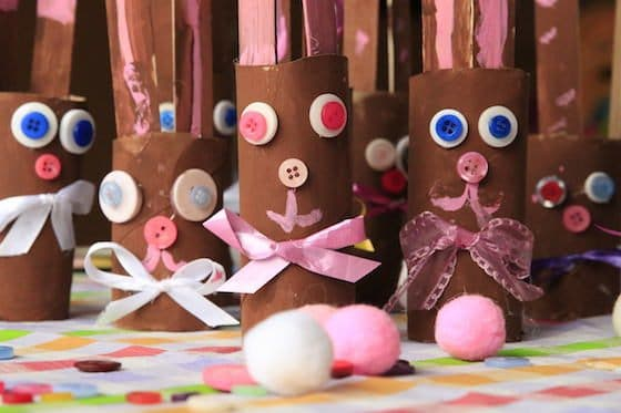 family of toilet roll chocolate easter bunnies