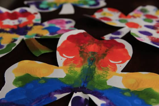 shamrocks painted in rainbow colours
